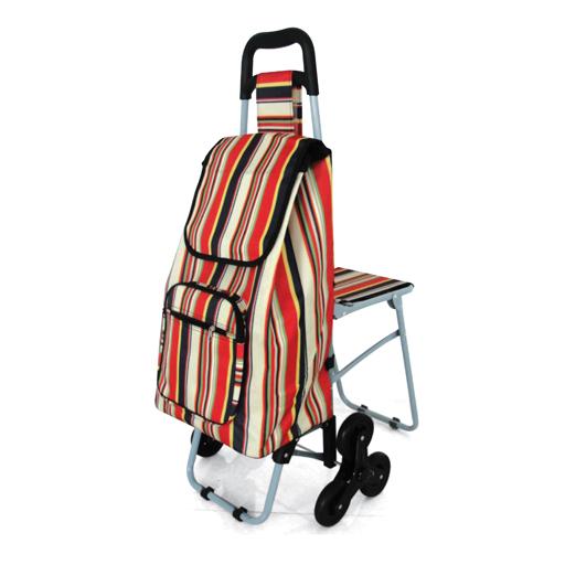 chariot de courses 6 roues rayures bayad res vilacosy. Black Bedroom Furniture Sets. Home Design Ideas