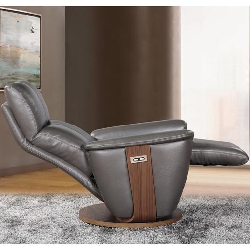 Fauteuil lit relax cuir motorisé avec socle rotatif Vilacosy