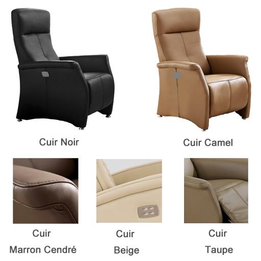 fauteuil relax lit cuir électrique tetiere reglable Vilacosy