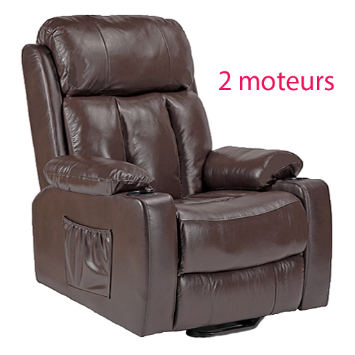 Fauteuil cuir releveur relaxation chauffant massant 2 moteurs Calin