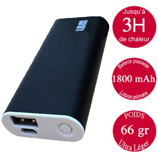 Chaufferette électrique noire rechargeable avec port USB