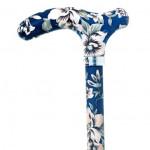 Canne Réglable bleue fleurs blanches