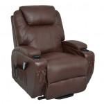 Fauteuil cuir releveur relaxation chauffant massant 1 moteur CALIN