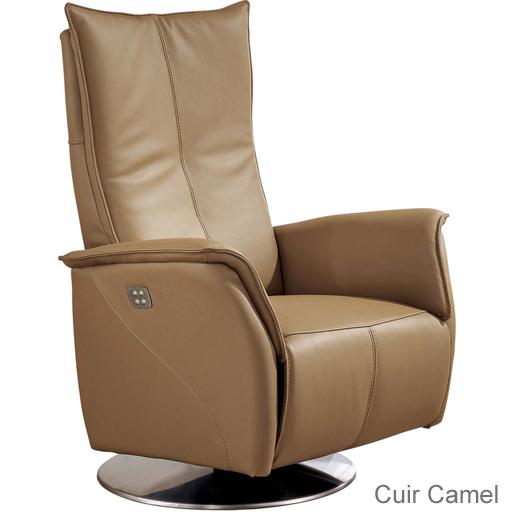 Fauteuil de relaxation releveur en cuir 2 moteurs vilacosy - Fauteuil cuir italien ...