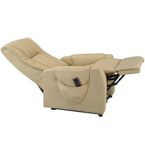 Fauteuil releveur de relaxation en cuir beige seniortys vilacosy - Fauteuil en cuir beige ...